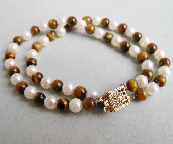Double Strand White Pearl & Tiger Eye Bracelet