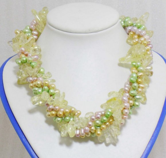4 Strands Colorful Pearls & Crystal Necklace