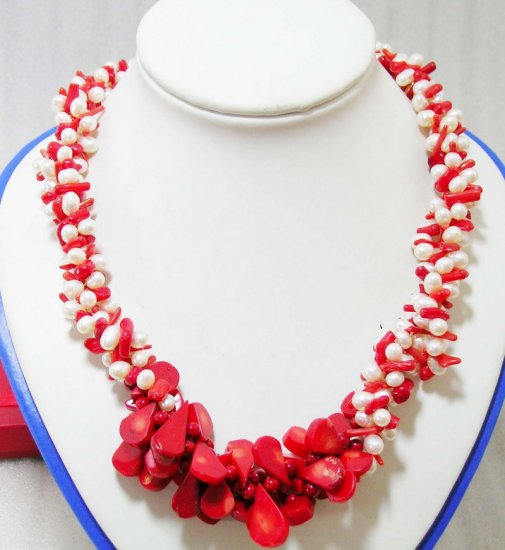 3 Strands Pearls & Coral Necklace