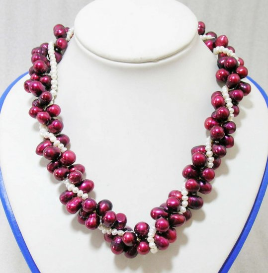 3 strands Wine-Red Pearls Necklace