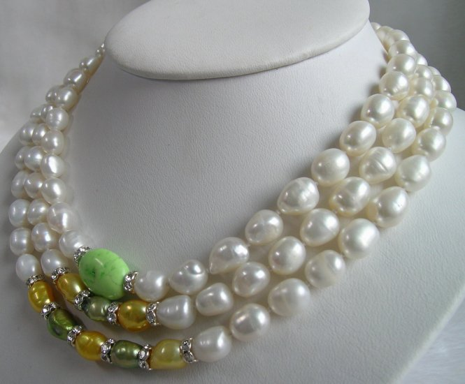 3 Strands Pearl & Turquoise Necklace