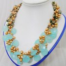 3 Strands Pearl&Crystal Necklace 19inch