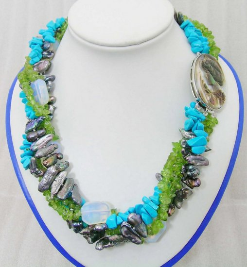 4 Strands Pearl & Turquoise & Crystal Necklace