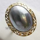 Luxurious 14mm gray mabe pearl ring 14K