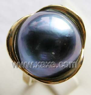 Luxurious 15mm dark gray mabe pearl ring 14K