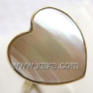 Luxurious 15mm white heart shape mabe pearl ring 14K