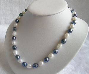 Black&White 8-9mm Pearls Necklace 18inch