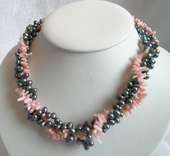 3 Strands 5-6mm Pearl & Coral Necklace
