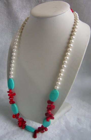 8-9mm White Pearl & Turquoise Necklace 32 inch