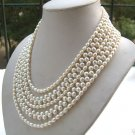 5 strands white freshwater pearl necklace