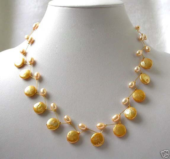 17'' handmade 12mm golden coin pearls necklace