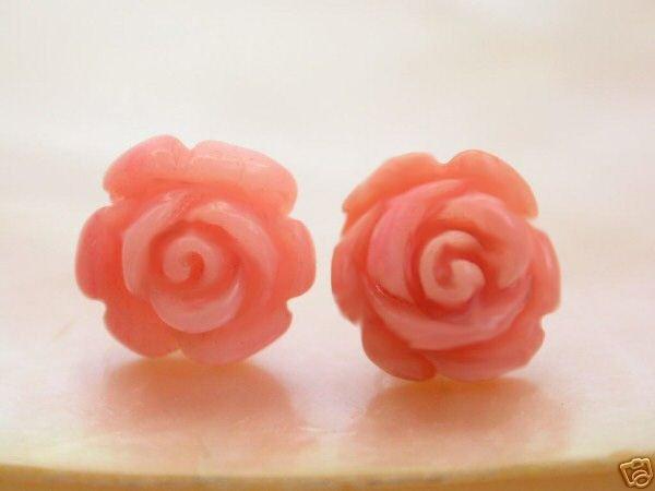 Natural pink flower coral earrings 14K stud
