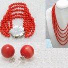5 strands red coral necklace bracelet earring set