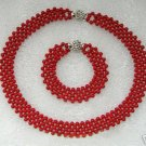 4mm Knit Red Coral Necklace Bracelet Set