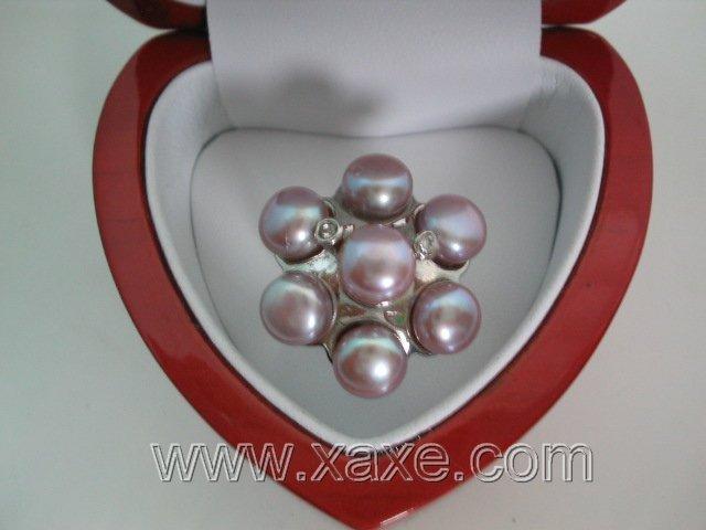 Flower 7pcs freshwater pearl ring - lavender