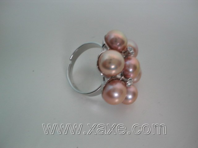 Flower 7pcs freshwater pearl ring - pink