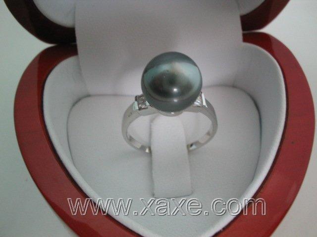 14K gold 7.5# 11.5mm black Tahitian pearl ring