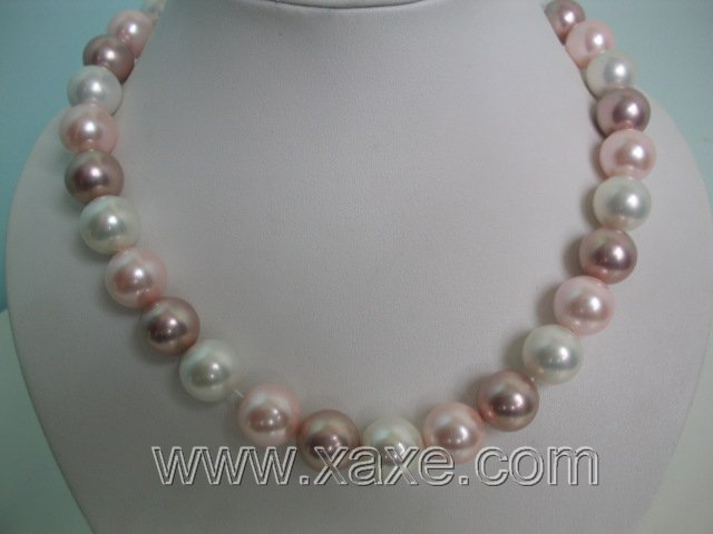 3-color 14mm seashell pearl necklace