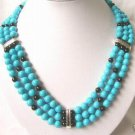 3 strand turquoise & agate bead necklace