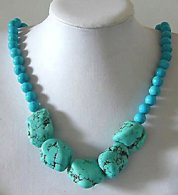 19'' turquoise bead necklace
