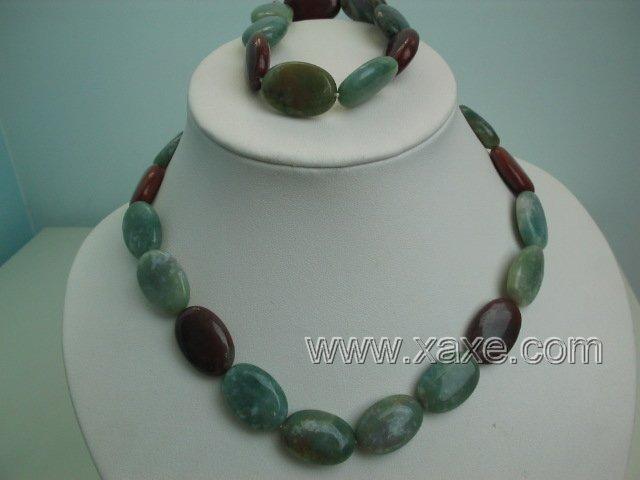 "17"""" multicolor jade necklace and elastic bracelet set"