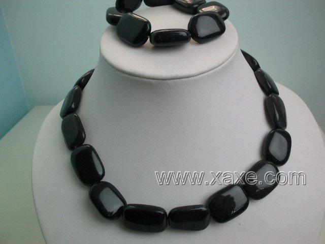 "17"""" obsidian bead necklace and elastic bracelet set"