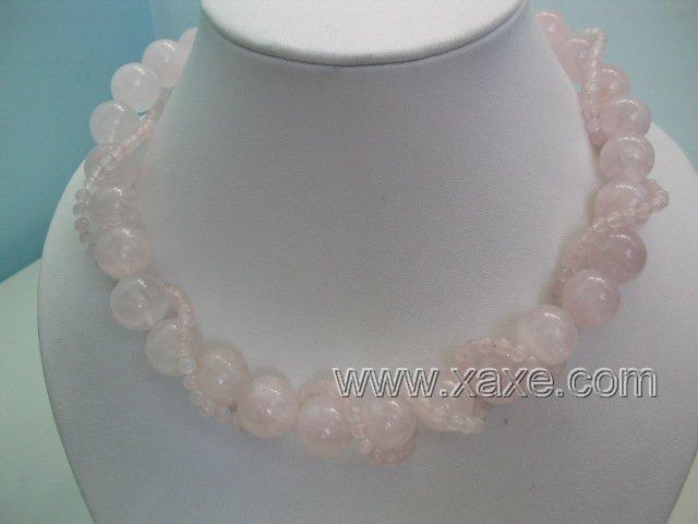 "17"""" 2 strand pink jad necklace"