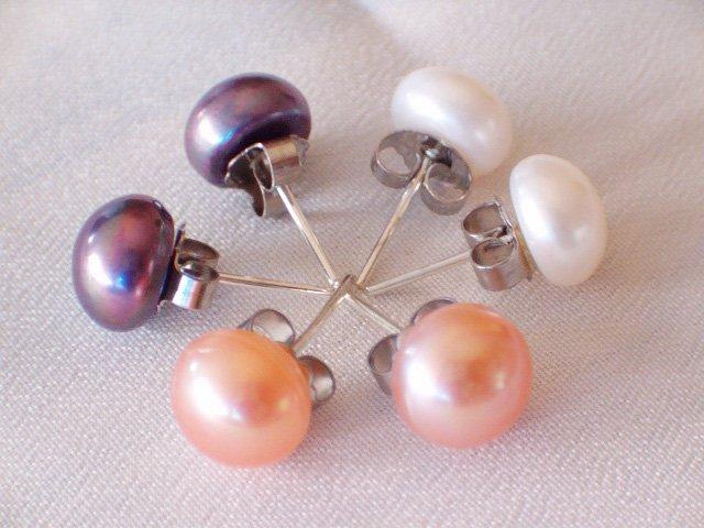 wholesale pearl earrings 30 pairs 6-7mm 925silver