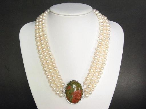 3 Strands 9mm FW White Pearls necklace unakite clasp