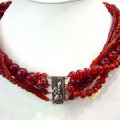 6 row red coral & agate necklace