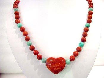 19'' sponge coral & turquoise necklace heart pendant