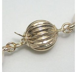 14k solid gold carved ball clasp - 12mm