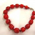 8'' barrel shape coral bead bracelet