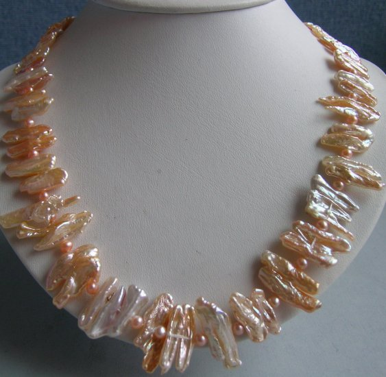 21'' pink biwa pearl necklace