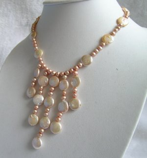16.5'' pink coin pearl necklace new style