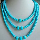 16-20''  3 strands turquoise bead necklace