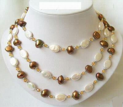 45'' coffee and white pearl necklace
