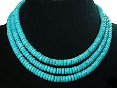 3 strands blue turquoise bead necklace