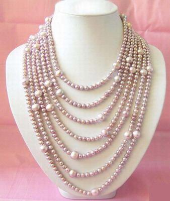 Super long 152'' lavender pearl necklace