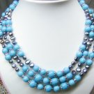 3 strands turuqoise bead and pearl necklace