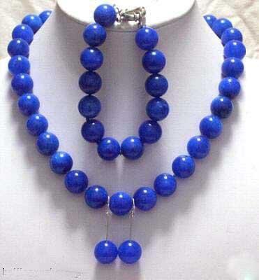 18'' blue jade necklace bracelet earrings set