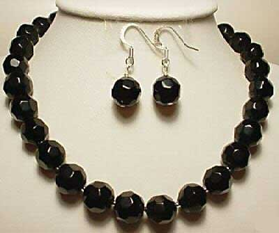 17'' black facet agate bead necklace earring set