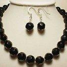17'' black facet agate bead necklace earring set