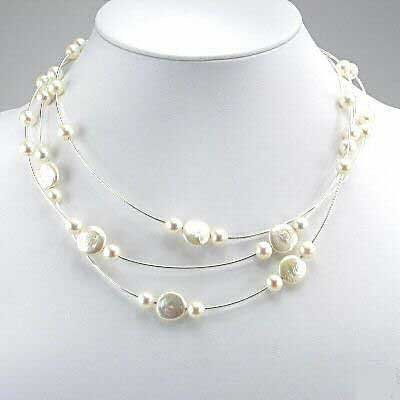 16'' white coin pearl wire necklace