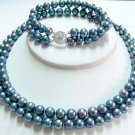 2 strands black pearl necklace bracelet set