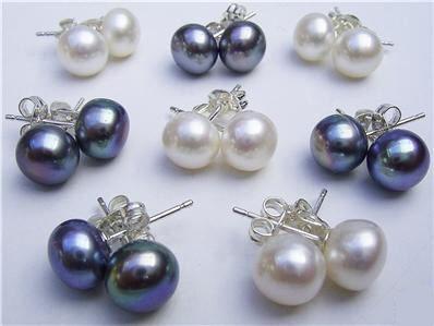 Wholesale 8 pairs 8mm black white pearl earrings