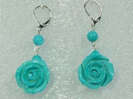 Green turquoise flower dangling earrings