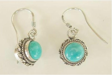 Turquoise earrings sterling silver hook