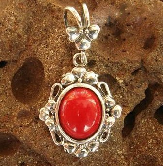 Red coral pendant sterling silver