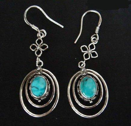 Vingtage turquoise earrings silver